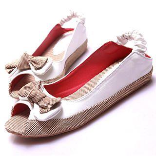 "Buy Kvoll Peep-Toe ""Bow"" Flats 1022892393"