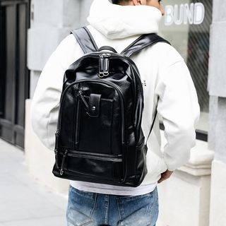 Faux Leather Laptop Backpack