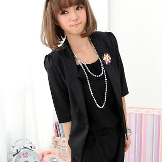 Picture of 59 Seconds 3/4-Sleeve Blazer (Pin Not Included) Black - One Size 1022791716 (59 Seconds Apparel, Womens Outerwear, Hong Kong Apparel, Hong Kong Outerwear)