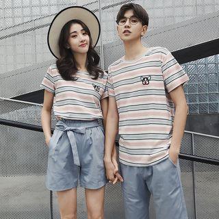 Short-sleeve   Embroider   T-Shirt   Couple   Stripe   Dog
