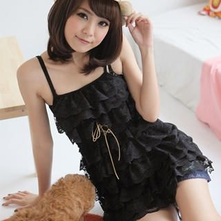 Buy eFashion Sleeveless Ruffled Lace Babydoll Dress 1022898316