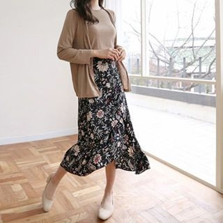 Band-Waist Floral Long Skirt 1057851400