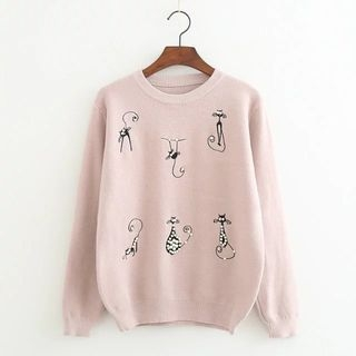 Beaded Cat Embroidered Sweater 1056533642