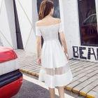 Mesh Insert Off-Shoulder Short-Sleeve A-Line Dress 1596