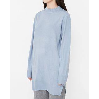 Mock-Neck Long Knit Top 1055830298