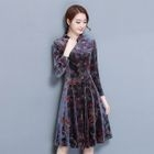 Long-Sleeved Floral Embroidered Stand Collar A-Line Sheath Dress 1596