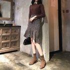 High-Waist Ruffle Hem Tweed Skirt 1596