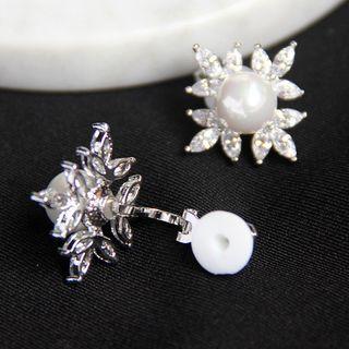 Rhinestone Faux Pearl Ear Cuffs