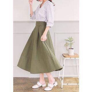 Band-Waist Long Flare Skirt 1061599587