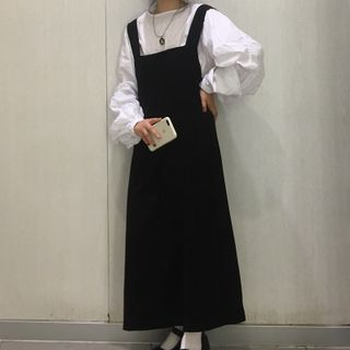Image of Balloon-Sleeve Blouse / Maxi A-Line Pinafore Dress