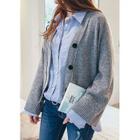 V-Neck Wool Blend Buttoned Cardigan 1596