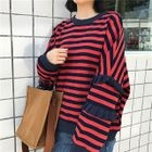 Striped Loose-Fit Ruffle Pullover 1596