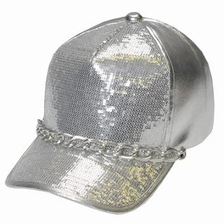 Buy GRACE Chain-Accent Sequined Baseball Cap Silver – One Size 1022173477