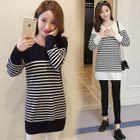 Maternity Long-Sleeve Stripe Sweater Dress 1596