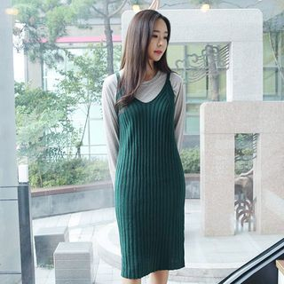 Spaghetti-Strap Ribbed Knit Dress 1052933470