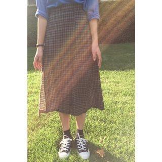 Band-Waist Plaid Long Skirt 1052939395