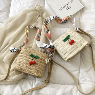 Image of Cherry Accent Woven Crossbody Bag