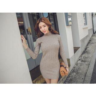 Mock-Neck Ribbed Mini Dress 1053841234
