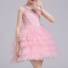 Kids Crochet Applique Sleeveless Tulle Dress 1596