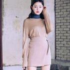 Drop-Shoulder Colored Knit Top 1596