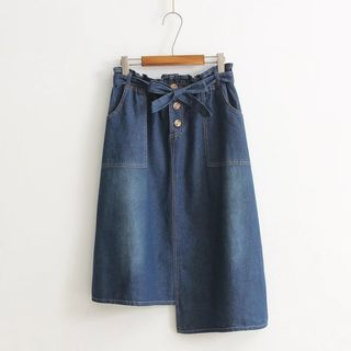 Image of Asymmetric Denim Pencil Skirt