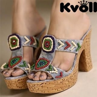 Buy Kvoll Denim Beaded Platform Mules 1023070637