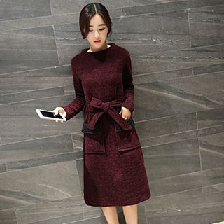 Long-Sleeve Tie-Waist Dress 1046593371
