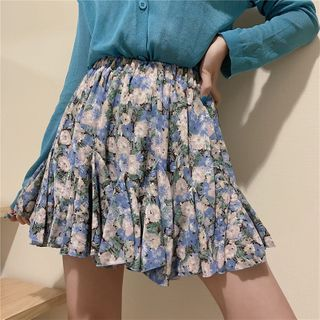 Image of Floral Print Mini Chiffon Skirt