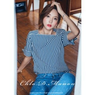 Square-Neck Stripe Top 1050920763