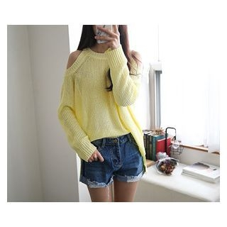 Cutaway-Shoulder Knit Top 1059462463