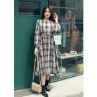 Long-Sleeve Tie-Waist Buttoned Plaid Long Dress 1596