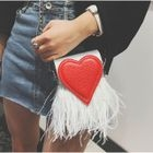 Heart Applique Fringed Crossbody Bag 1596