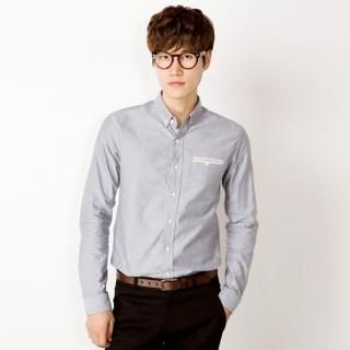 Contrast-Trim Button-Down Shirt