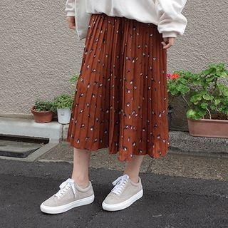 Band-Waist Pattern Pleated Long Skirt 1062109943