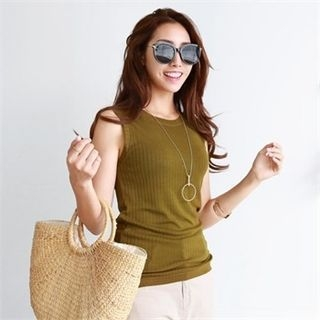 Sleeveless Ribbed Slim-Fit Top 1061318794