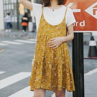 Maternity Set: Short-Sleeve T-Shirt + Floral Print Strappy Dress 1065011048