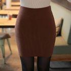 Ribbed Knit Mini Pencil Skirt 1596