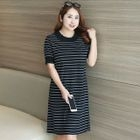 Striped Short-Sleeve Knitted Dress 1596