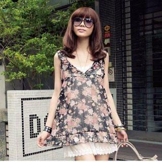 Buy PUFFY Set: Floral Print Chiffon Dress + Slipdress 1022782433
