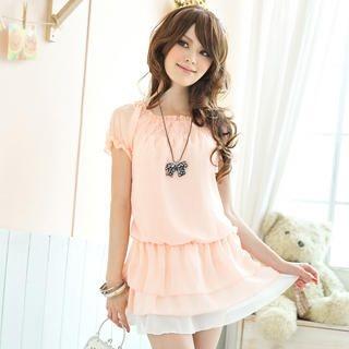 Buy Tokyo Fashion Short-Sleeve Drop-Waist Chiffon Tunic 1022882798