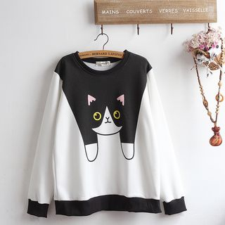 Image of Cat Print Pullover