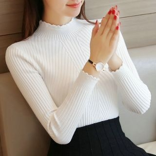Ribbed Long-Sleeve Knit Sweater 1061871356
