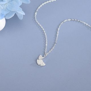 Rhinestone | Sterling | Necklace | Pendant | Silver | Leaf | Size | One