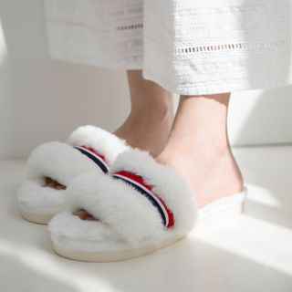 Image of Contrast Stripe Furry Slippers