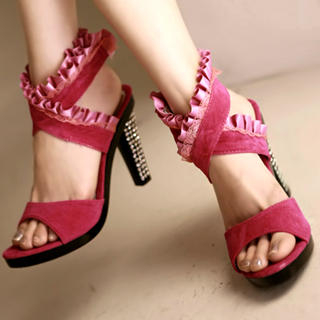 Buy Kvoll Genuine Suede Rhinestone Frill-Trim Sandals 1022654089