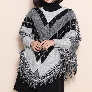 Fringed Patterned Knit Poncho 1063889303