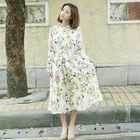 Long-Sleeve Floral Chiffon Dress 1596