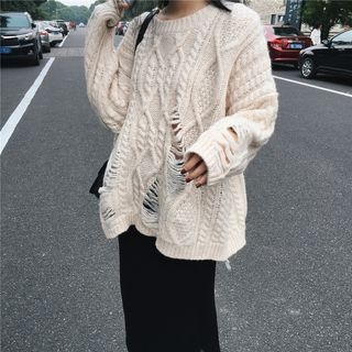 Ribbed Long-Sleeve Knit Sweater 1062711776