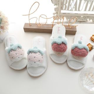 Image of Chenille Strawberry Home Slippers