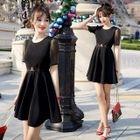 Short-Sleeve Sheer Panel A-Line Mini Dress 1596